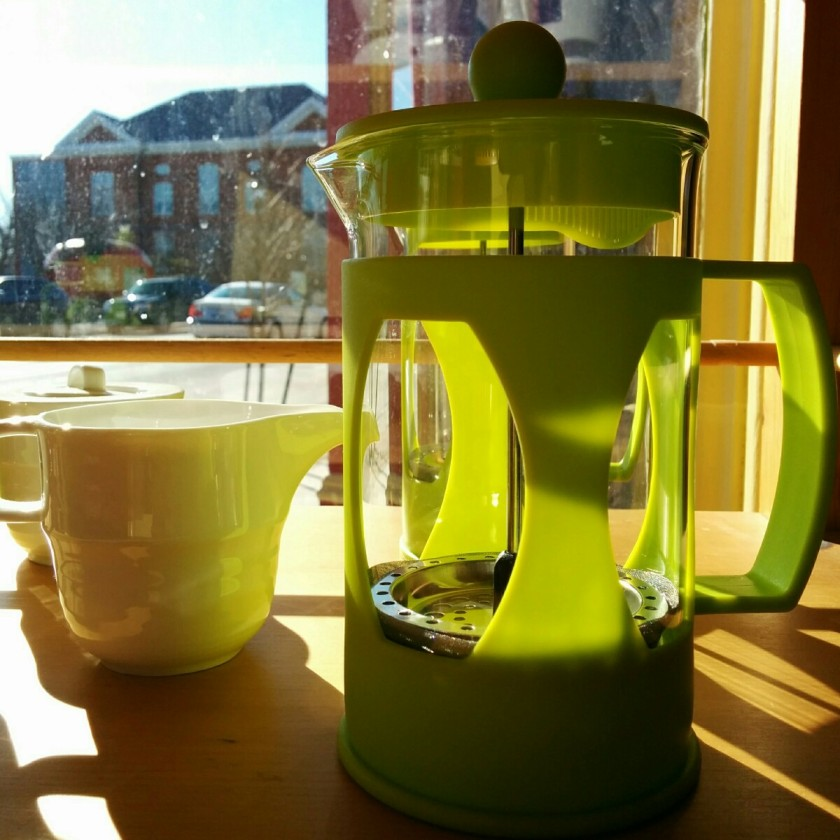 coffee pot in sun - earth harvest cafe in Meaford